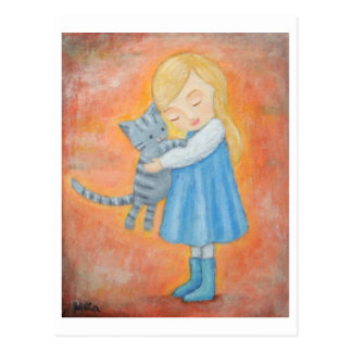 Graue Tabby-Katze u. blonde Postkarte