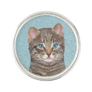 Graue Tabby-Katzen-Malerei - niedliche Anstecknadel