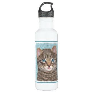 Graue Tabby-Katzen-Malerei - niedliche Edelstahlflasche
