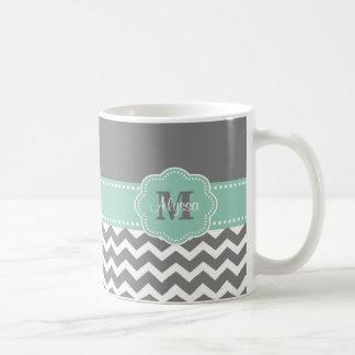 Graue tadellose grüne Zickzack personalisierte Kaffeetasse