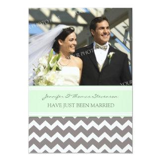 Graue tadellose Zickzack Foto-gerade verheiratete 12,7 X 17,8 Cm Einladungskarte