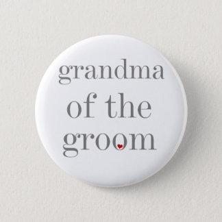 Graue Text-Großmutter des Bräutigams Runder Button 5,7 Cm