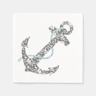 Graue und aquamarine blaue Anker-Strand-Hochzeit Papierserviette