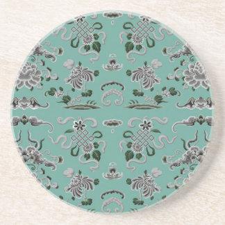 Graue und aquamarine Blumen und Formen Sandstein Untersetzer