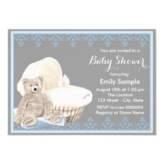 Graue und blaue Teddybär-Babyparty 12,7 X 17,8 Cm Einladungskarte