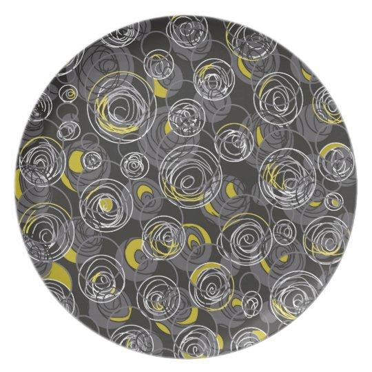 Graue und gelbe abstrakte Kunst Melaminteller