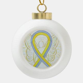 Graue und gelbe keramik Kugel-Ornament