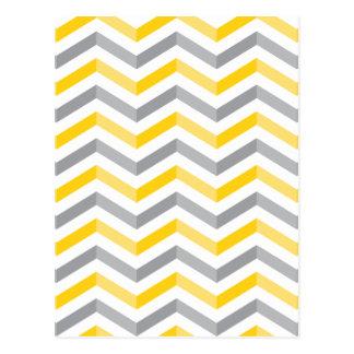 Graue und gelbe Zickzack Streifen Postkarte