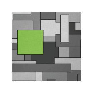 Graue und hellgrüne geometrische abstrakte Kunst Leinwanddruck