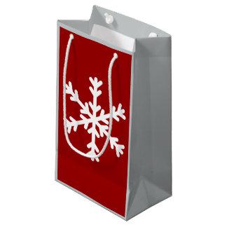 Graue und rote Schneeflocke-Geschenk-Tasche Kleine Geschenktüte