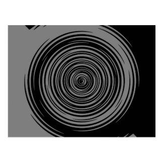 Graue und schwarze Scharf-Spirale Postkarte