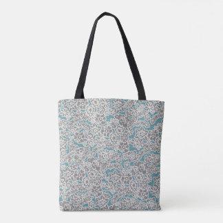 Graue Vintage BlumenTasche Tasche