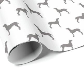 Graue Weimaraner Silhouetten auf weißem Geschenkpapier