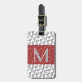 Graue/weiße/rote geometrische, Monogramm, fertigen Kofferanhänger