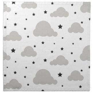 Graue Wolken und Schwarzsterne Serviette