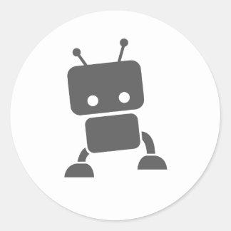 Grauer Baby-Roboter Runder Aufkleber