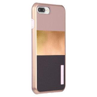 grauer Block des eleganten hellen Rosengoldrosas Incipio DualPro Shine iPhone 8 Plus/7 Plus Hülle