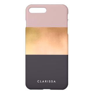 grauer Block des eleganten hellen Rosengoldrosas iPhone 8 Plus/7 Plus Hülle