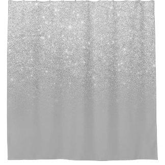 Grauer Block silbernes ombre Glitter des Imitats Duschvorhang