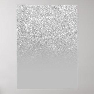 Grauer Block Trendy des Imitats silbernes ombre Poster