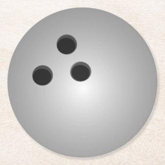 Grauer Bowlings-Ball Runder Pappuntersetzer