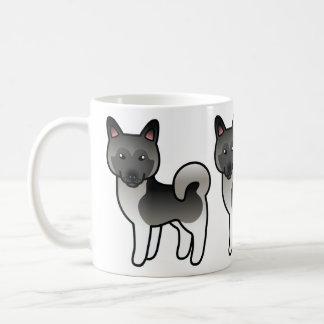 Grauer Cartoon-Norweger Elkhound Elch-Hund Kaffeetasse