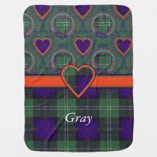 Grauer Clan karierter schottischer Kilt Tartan Puckdecke