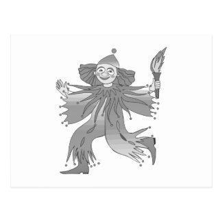Grauer Clown mit Fackel Postkarte