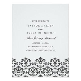 Grauer Damast, der Save the Date Wedding ist Karte