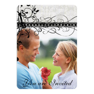 Grauer Damast-elegante 12,7 X 17,8 Cm Einladungskarte