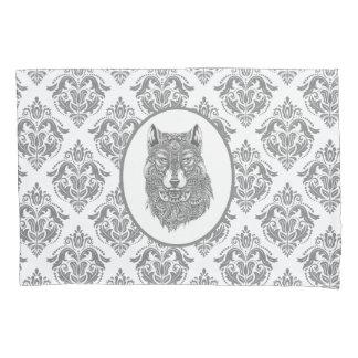 Grauer Damast-Rüttler-Wolf-Kopf Kissenbezug