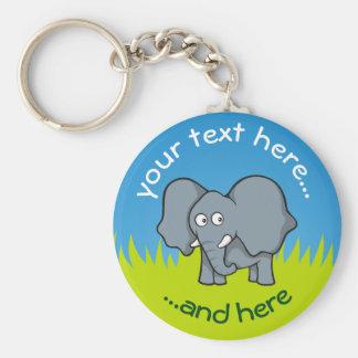 Grauer Elefant-Cartoon Schlüsselanhänger