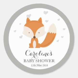 Grauer Fox-WaldLiebe-Herz-Baby-Duschen-Aufkleber  Runder Aufkleber