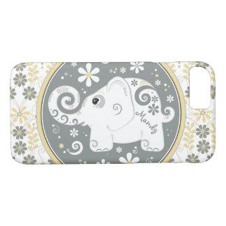 Grauer gelber weißer Elefant mit Blumen iPhone 8/7 Hülle
