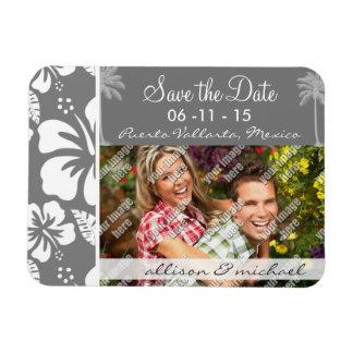Grauer hawaiischer tropischer Hibiskus Sommer-Pal Vinyl Magnete