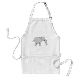 Grauer lachender Elefant. Karikatur Schürze