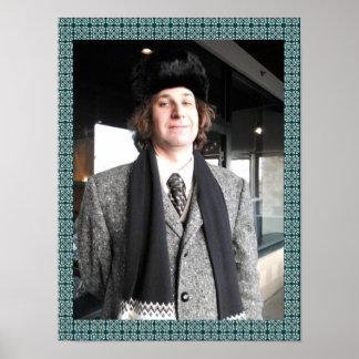 Grauer Mantel-und Pelz-Hut Poster