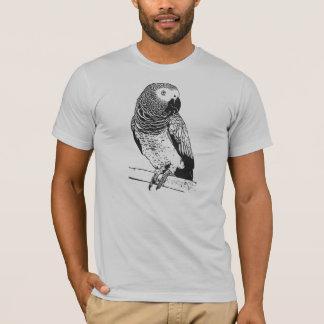 Grauer Papagei auf grauem Shirt