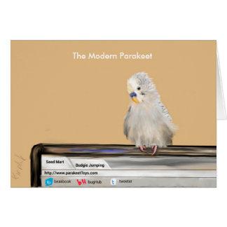 Grauer Parakeet auf Computer Grußkarte