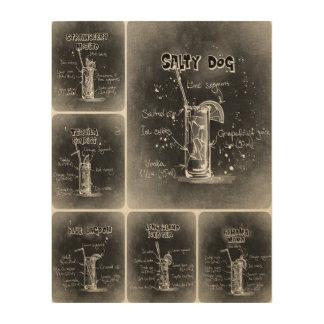 Grauer Plakat-Druck der Cocktail-I Holzwanddeko