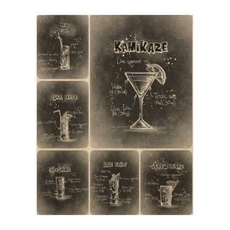 Grauer Plakat-Druck der Cocktail-II Holzdruck