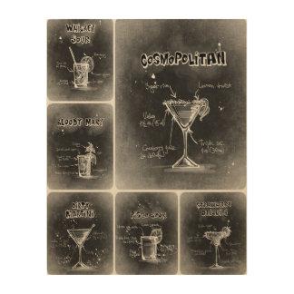 Grauer Plakat-Druck der Cocktail-III Holzdrucke