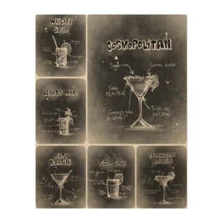 Grauer Plakat-Druck der Cocktail-III Holzleinwand