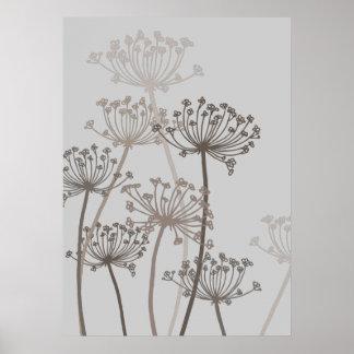 Grauer Plakatdruck des grafischen modernen Blumenk