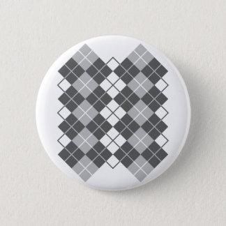 Grauer Rauten-Entwurf Runder Button 5,1 Cm