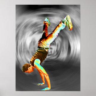 Grauer/schwarzer Hintergrund des Straßen-Tanzen-, Poster
