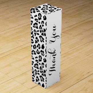 Grauer schwarzer Leopard-Tierdruck-Muster Weinbox