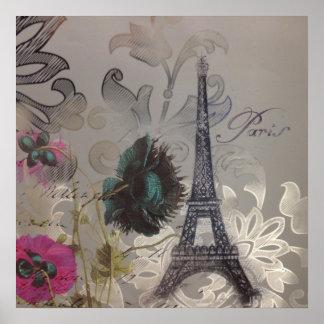 grauer silberner moderner Blumenparis-Eiffelturm Poster