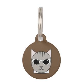 Grauer Tabby im weißen Katze-Auge Tiernamensmarke