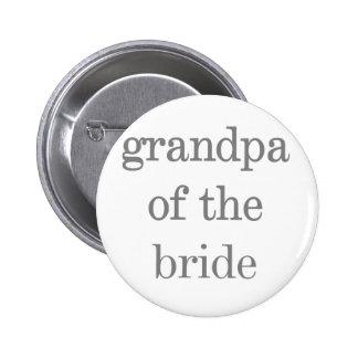 Grauer Text-Großvater der Braut Runder Button 5,1 Cm